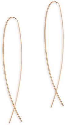 Lana Narrow Rose Gold Flat Upside Down Hoop Earrings