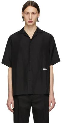 MSGM Black Silk Logo Shirt