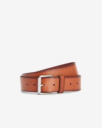 Express Brown Leather Prong Buckle Belt