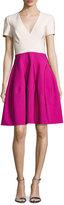 J. Mendel Short-Sleeve V-Neck Colorblock Dress, Raspberry