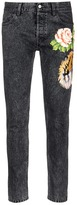 Gucci 'Punk' floral tiger appliqué slim fit jeans