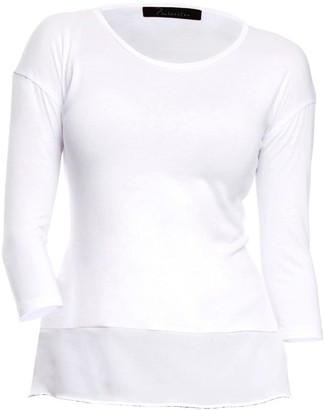 Philosofée By Glaucia Stanganelli Off White Back Pleat Sustainable Tencel Modal Knit T-Shirt