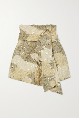 retrofete Jo Belted Sequined Camouflage-print Cotton Shorts - Beige