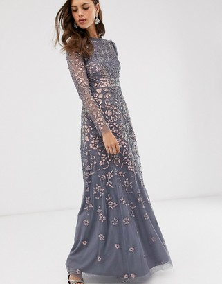 Needle & Thread high neck sequin maxi dress in charcoal-Grey