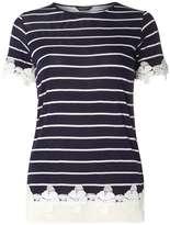 Dorothy Perkins Navy Stripe Lace Hem T-Shirt