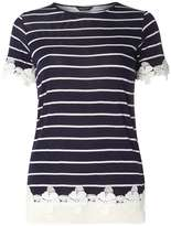 Navy Stripe Lace Hem T-Shirt