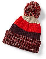 Lands' End Boys Stripe Rib Knit Hat-Midnight Ink