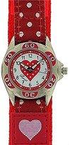 Ravel Girls Hot Pink Heart Time Teacher Velcro Strap Watch R1507.24