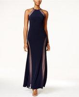 Night Way Nightway Petite Open-Back Illusion Halter Gown