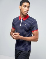 Fila Vintage Polo Shirt In Pinstripe
