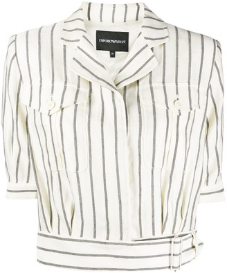 Emporio Armani Striped Cropped Shirt