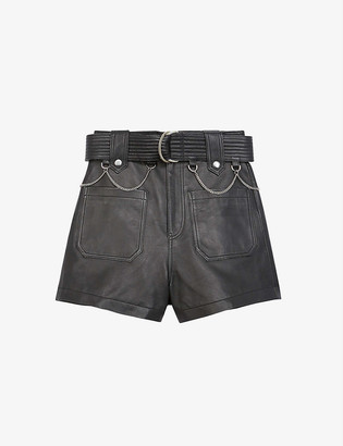 The Kooples Belted high-rise leather shorts