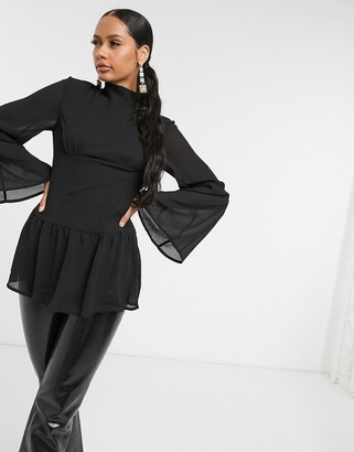 UNIQUE21 corset bell sleeve top in black