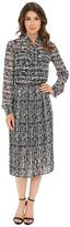 Donna Morgan Long Sleeve Chiffon Midi Dress with Neck Tie