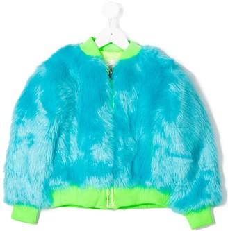 Alberta Ferretti Kids Textured Furry Bomber Jacket