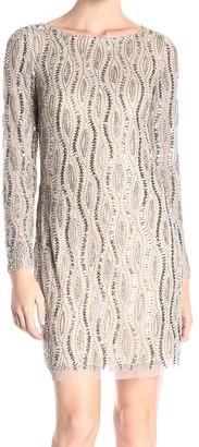 Adrianna Papell Women's Long Sleeve Beaded Cocktail Dress