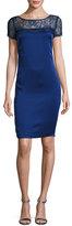 St. John Lace-Yoke Luxe Satin Cap-Sleeve Dress, Violet