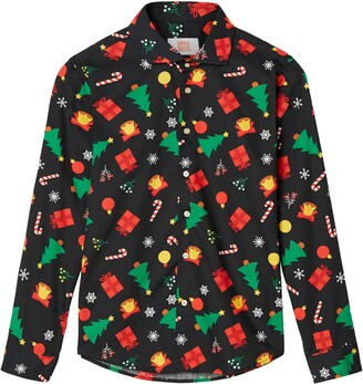 OppoSuits Christmas Icons Button-Up Shirt