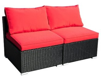Red Barrel Studio Devair Patio Chair with Cushions Cushion Color: Red