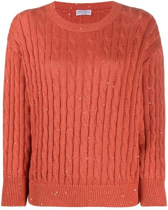 Brunello Cucinelli Sequin-Embellished Cable Knit Jumper