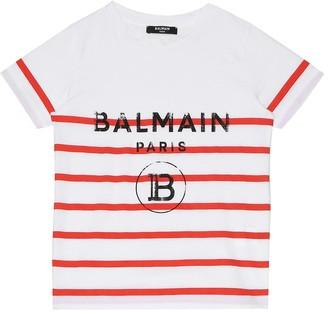 Balmain Kids Logo striped cotton T-shirt