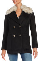 Eliza J Faux Fur Trimmed Walking Coat