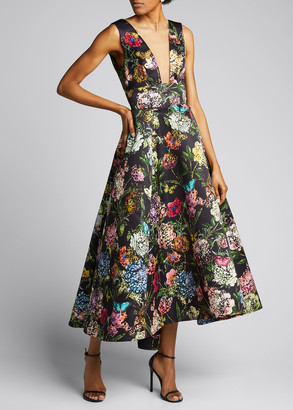 Monique Lhuillier Broken Botanical Satin Dress
