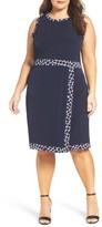 MICHAEL Michael Kors Plus Size Women's Contrast Border Jersey Faux Wrap Dress