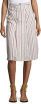 Isabel Marant Mixed-Stripe Cotton Cargo Skirt, Ecru