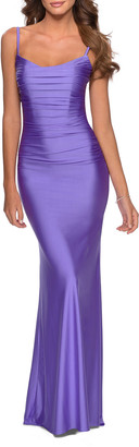 La Femme Square-Neck Ruched Long Jersey Column Dress