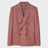 Paul Smith Men's Tailored-Fit Red Mini-Check Double-Breasted Wool Blazer
