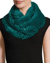 Jocelyn Rabbit Fur Infinity Scarf, Turquoise