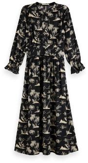 Scotch & Soda Printed Satin Midi Dress - xs