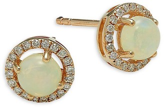 Saks Fifth Avenue 14K Yellow Gold, Opal, & Diamond Earrings