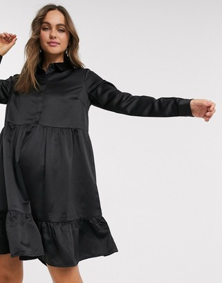 Pieces Tia tiered shirt dress in black