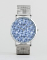 Reclaimed Vintage Inspired Leaves Print Mesh Watch In Silver