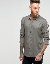 Asos Viscose Shirt In Khaki In Regular Fit