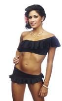 Nicolita Swimwear - Rumba Ruffles Black Skirt Bikini Bottom