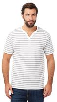 Maine New England White Stripe Print Notch Neck Top