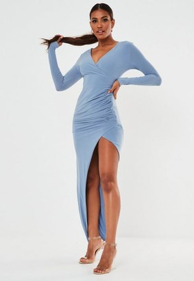 Missguided Blue Slinky Ruched Wrap Maxi Dress