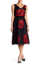 Donna Ricco Floral Fit & Flare Dot Dress