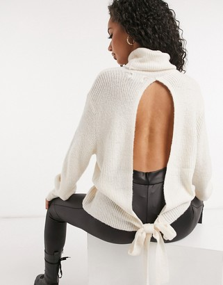 NA-KD open back sweater with tie detail in off white