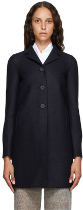Harris Wharf London Navy Pressed Virgin Wool Coat