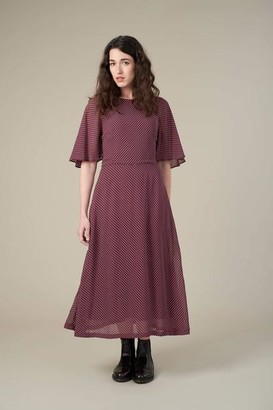 Emily And Fin Luna Suzanna Burgundy Mini Spot Dress - 10