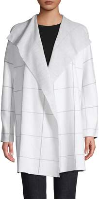 Eileen Fisher Windowpane-Print Cotton-Blend Cardigan