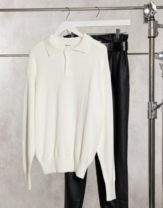 Glamorous oversized polo style jumper with button collar in cream