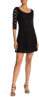 Papillon Lace Knit 3/4 Sleeve Fit & Flare Dress