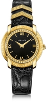 Versace DV25 Round Black and Gold Women's Watch w/Croco Embossed Band and Metal Inserts