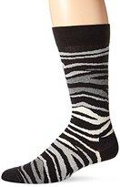 Happy Socks Men's 1 Pack Unisex Combed Cotton Crew-Black Multi Zebra
