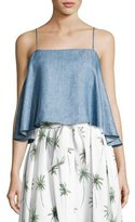 Milly Laurel Linen Chambray Flyaway-Back Tank